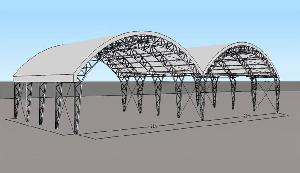 tensioned fabric buildings double aircraft hangar toro shelters