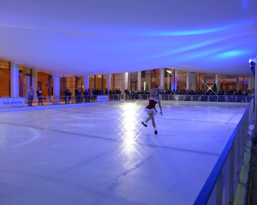 Temporary Indoor Ice Rink Construction - Tensile Fabric Structure - Toro Shelters
