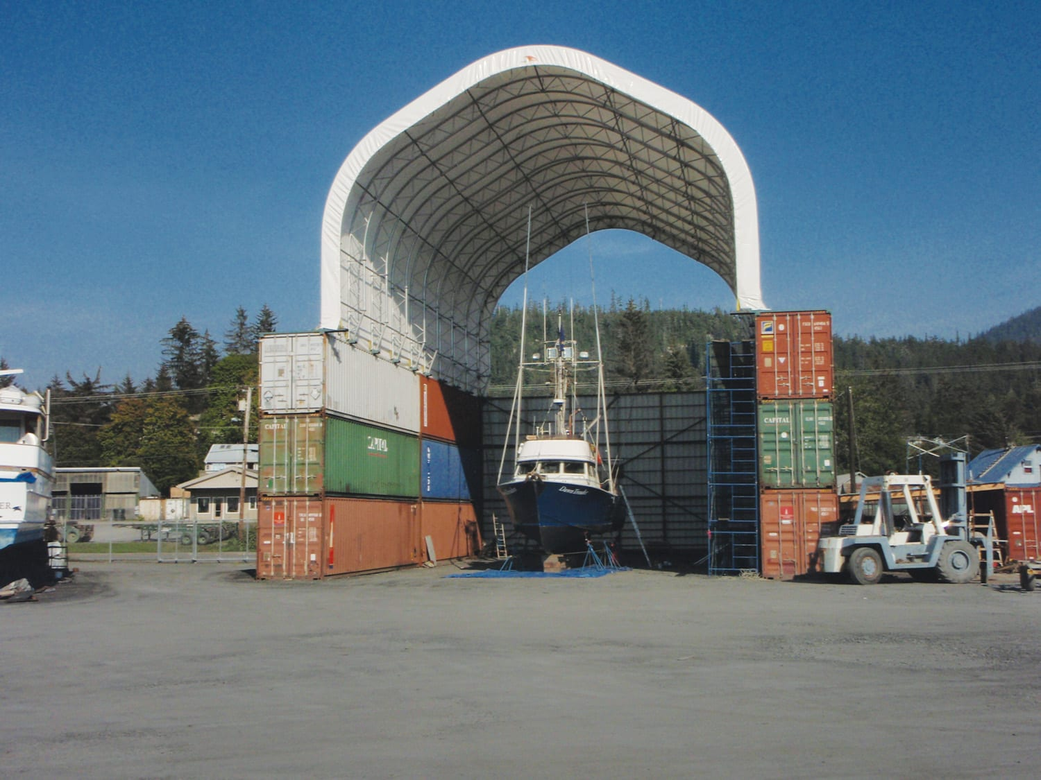 Boat and Marine Storage Shelter using Shipping Containers - Toro Shelters