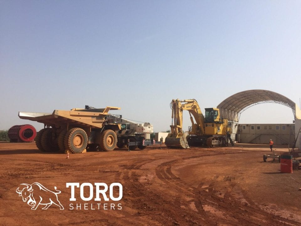 mine trucks and excavator maintenance protection toro shelters