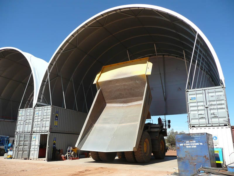 Mining Infrastructure - Container Mounted Tensile Fabric Structure - Toro Shelters