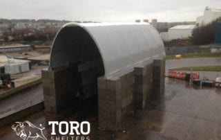 round roof concrete block fabric roof toro shelters
