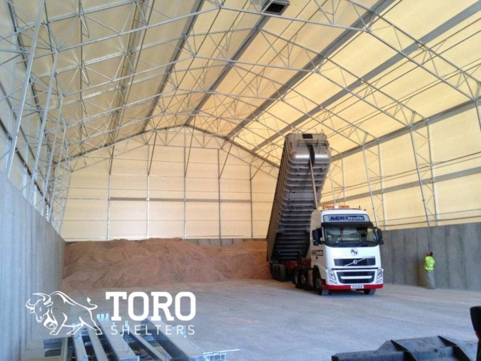 salt delivery to salt barn toro shelters