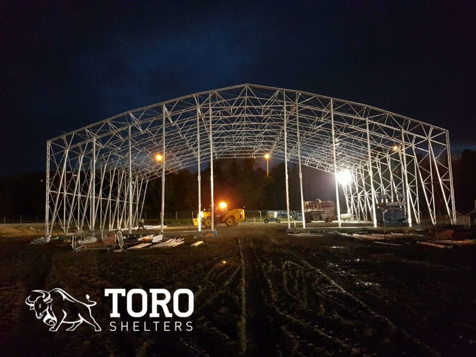 salt storage steel framework night toro shelters