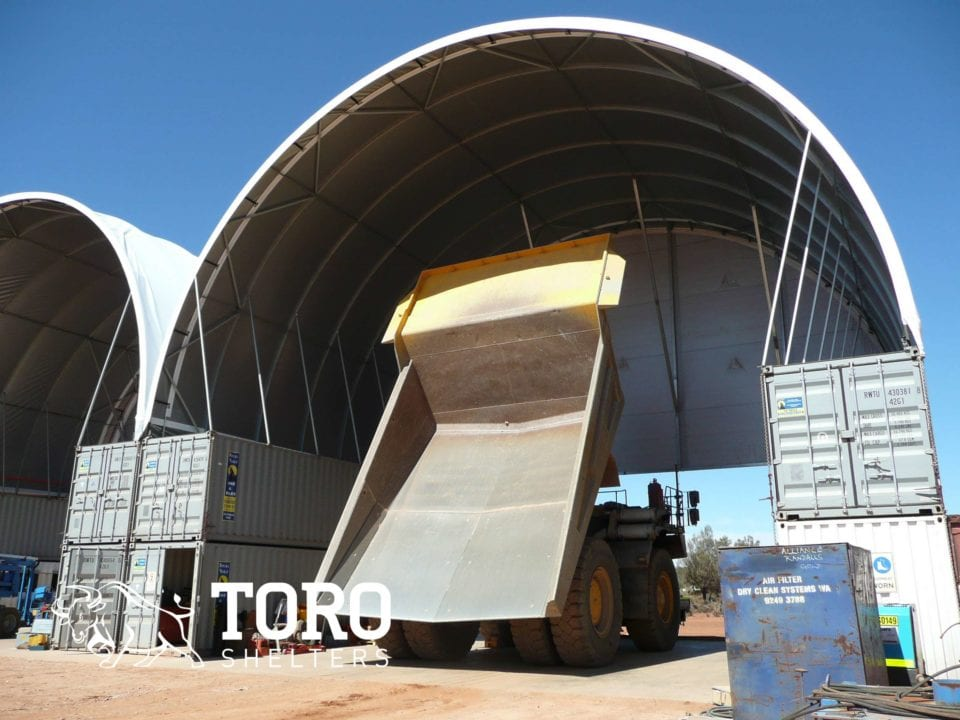 tipper fully extended round roof toro shelters