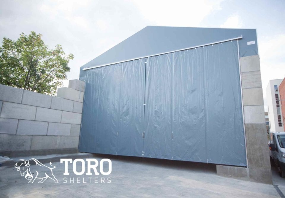 winter salt storage curtain door toro shelters